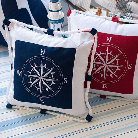 Throw Pillow Cover | Nautical Embroidery & Rope - 2 colors, 2 designs - Seahorse Mansion