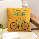 Throw Pillow Cover | Ride My Bike - 3 colors - Seahorse Mansion