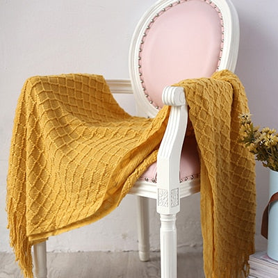 Throw Blanket | Geometric Knit Throw - 4 colors - Seahorse Mansion