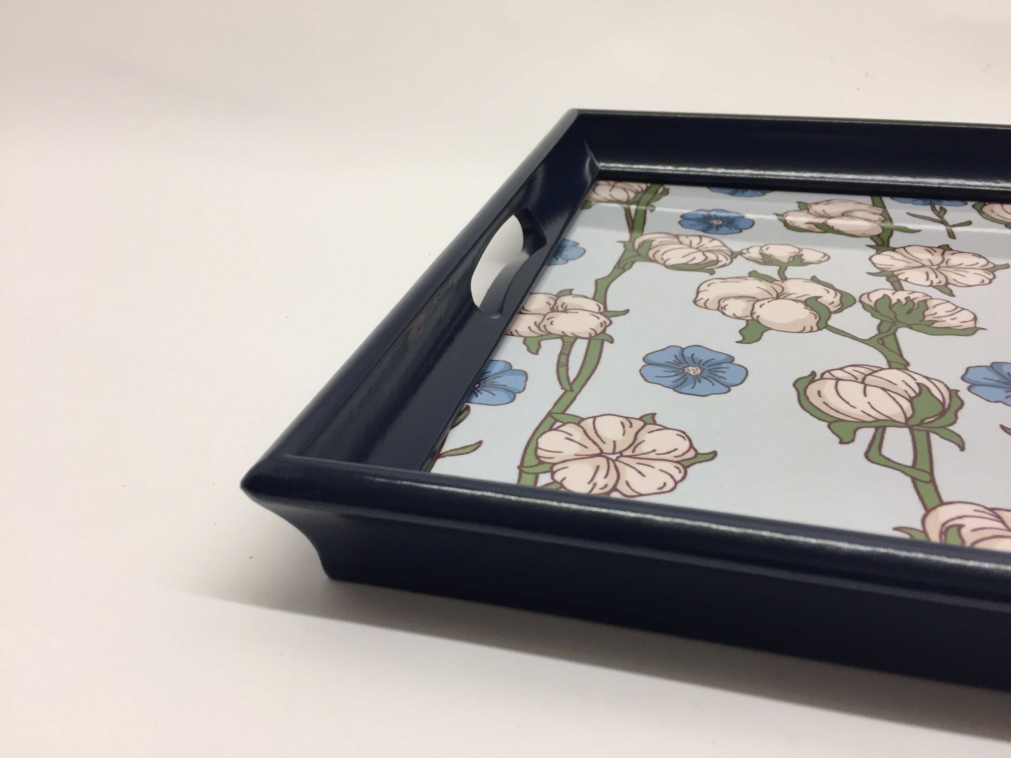 Blue & white flower Melamine Based Serving Tray