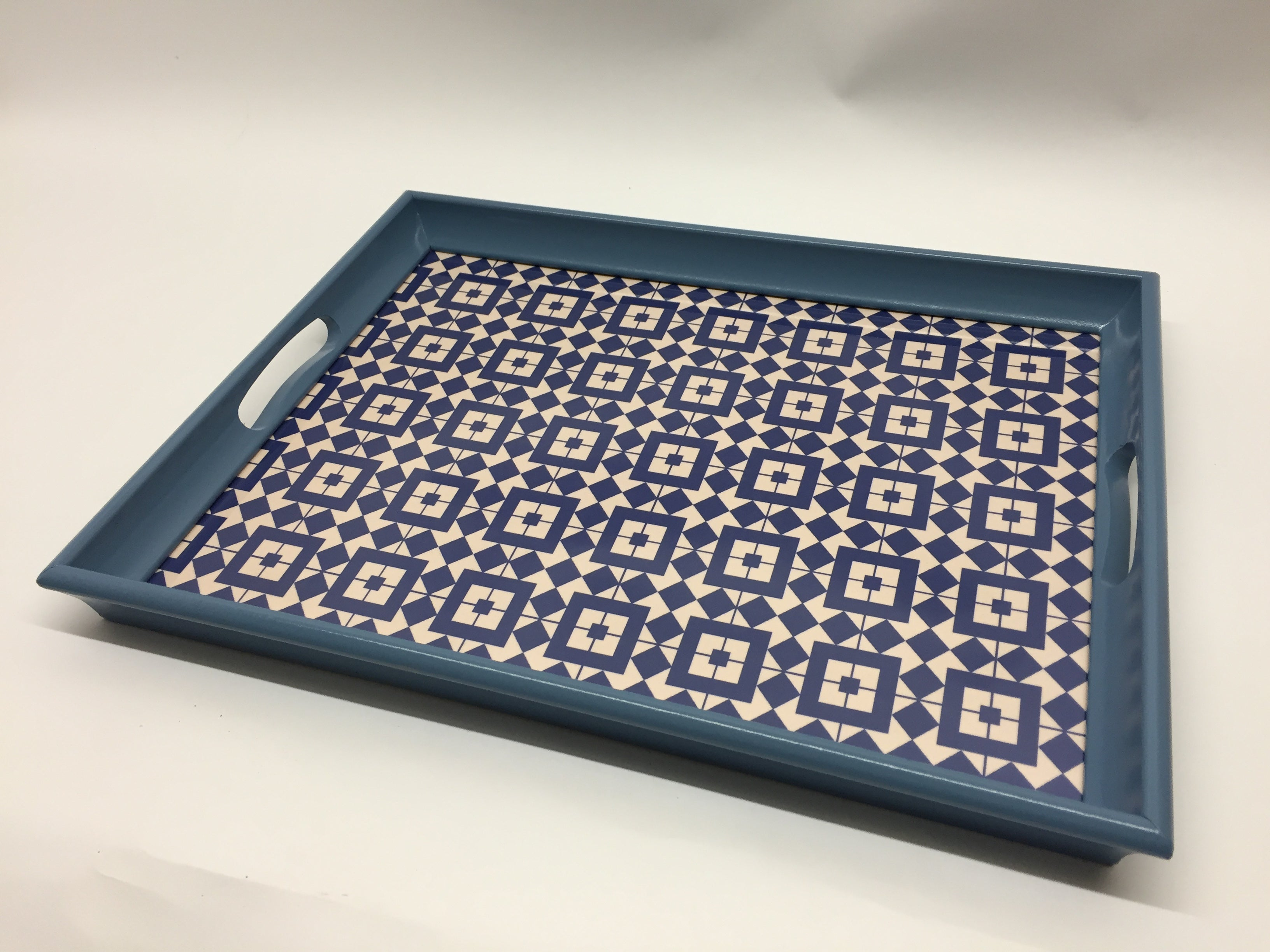 Geo Squares Melamine Based Serving Tray