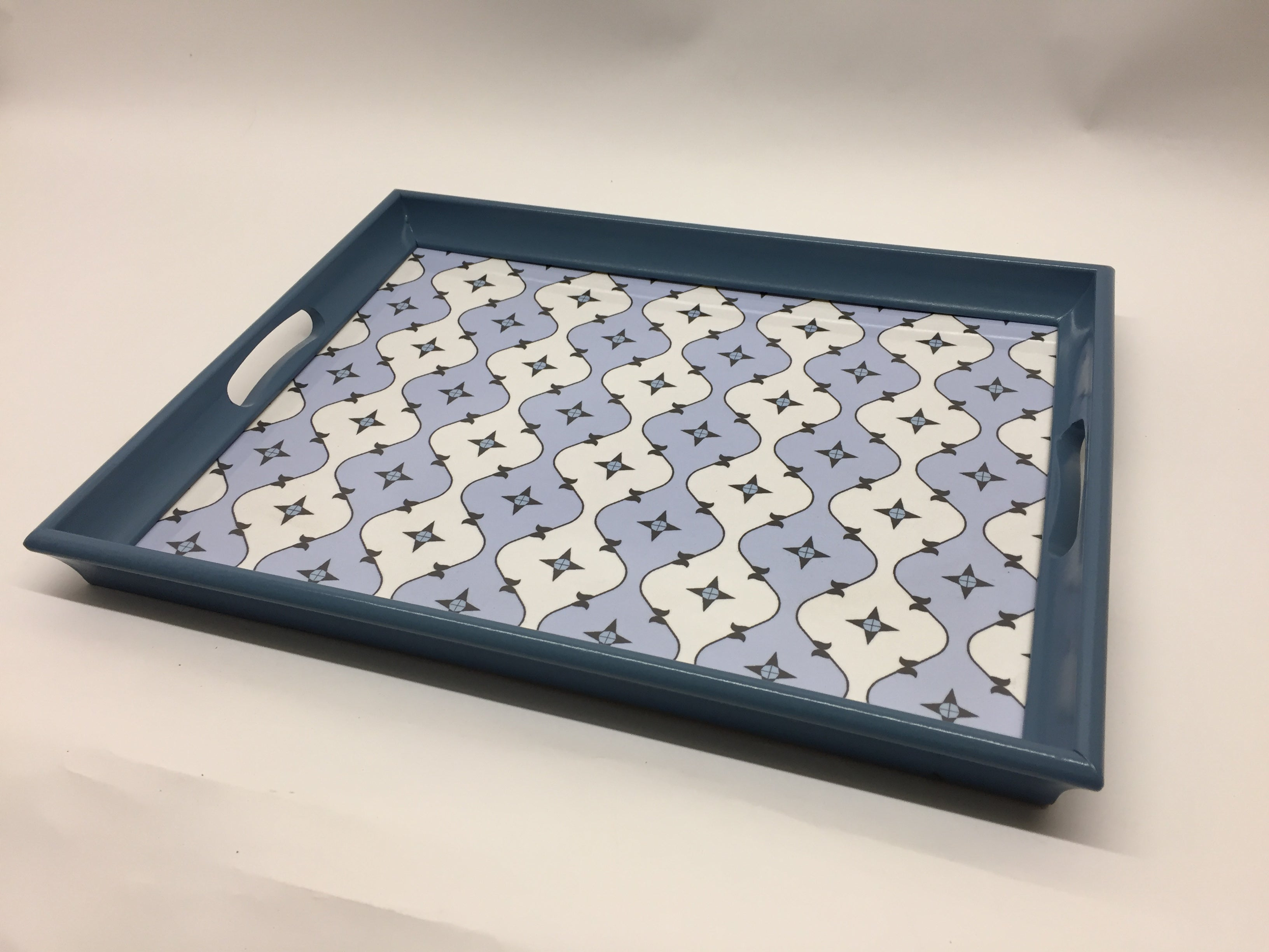 Geo Pale Blue Melamine Based Serving Tray