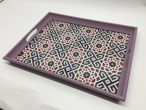 Geo Lilac Melamine Based Serving Tray