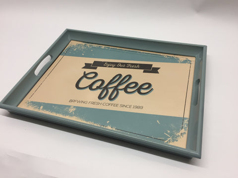 Retro Coffee Melamine Based Serving Tray
