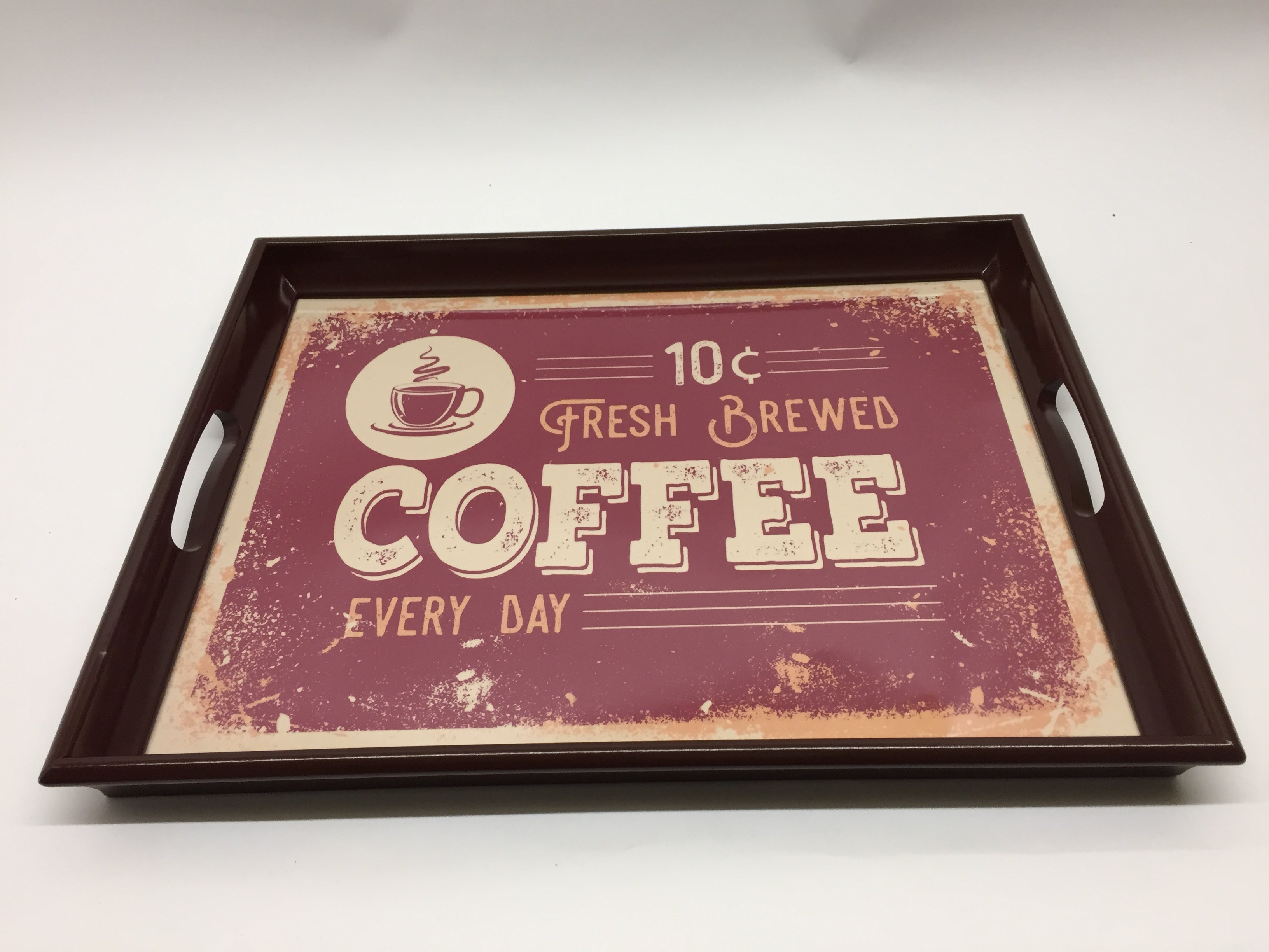 Retro Coffee Red Melamine Based Serving Tray