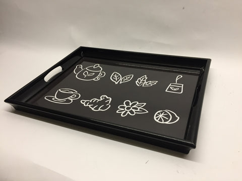 Black kitchen Melamine Based Serving Tray