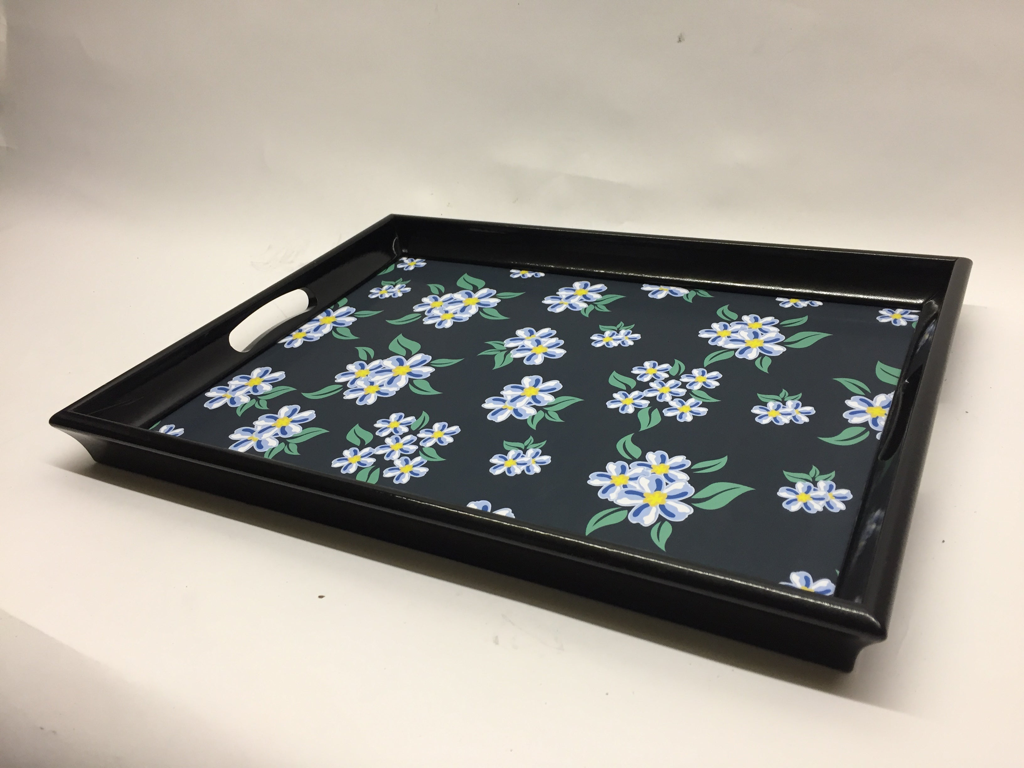 White Flower Melamine Based Serving Tray