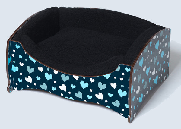 Handmade Luxury Pet Bed for Dogs or Small Cats (Blue Hearts)