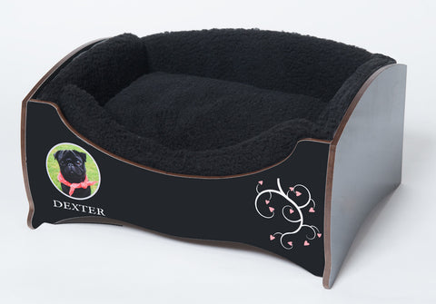 Handmade Luxury Pet Bed for Small Dogs or Cats (Custom black)