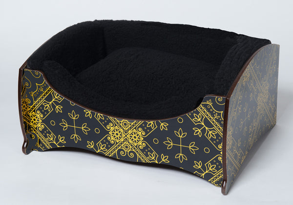 Handmade Luxury Pet Bed for Small Dogs or Cats (Black & Gold)