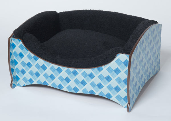 Handmade Luxury Pet Bed for Small Dogs or Cats (blue check)