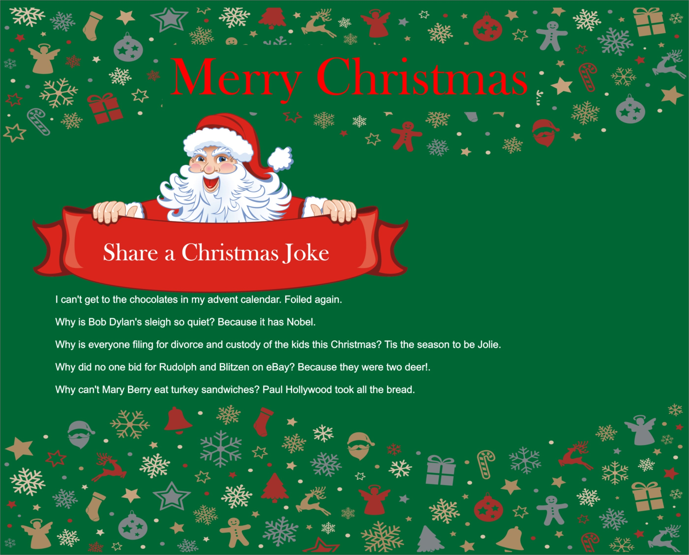Melamine Christmas Joke Placemats