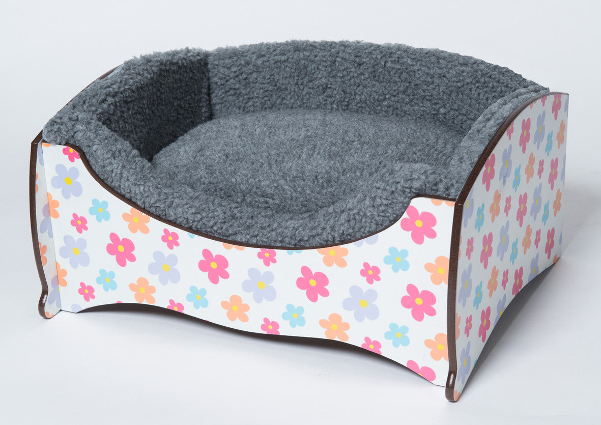 Handmade Luxury Pet Bed for Small Dogs or Cats (flower power)