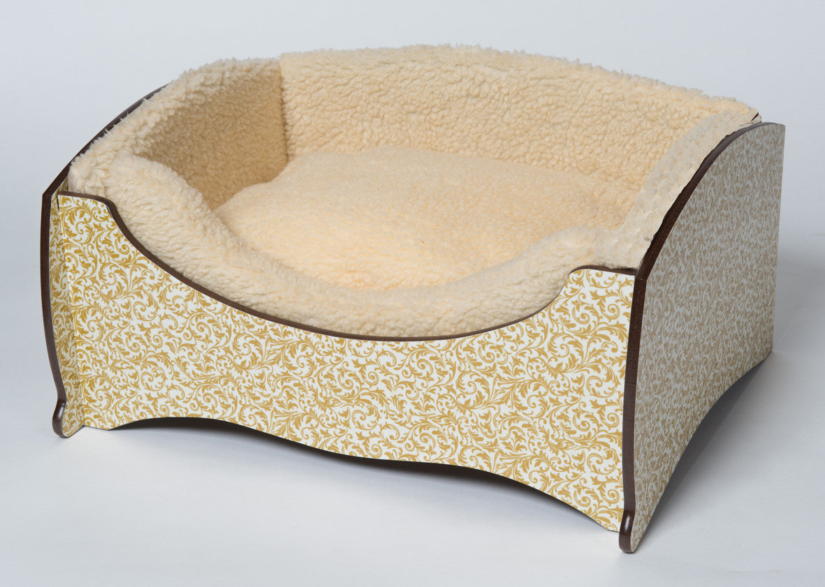 Handmade Luxury Pet Bed for Small Dogs or Cats (Gold Paisley)
