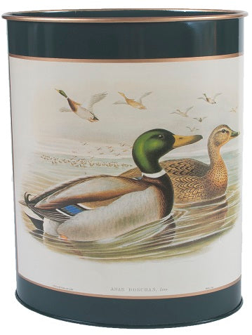 Oval Waste Paper Bin  Ducks on Dark Green