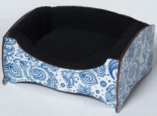 Handmade Luxury Pet Bed for Small Dogs or Cats (paisley blue)