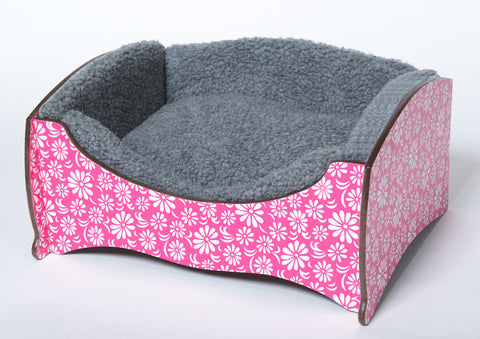 Handmade Luxury Pet Bed for Dogs or Cats (Pink flower)