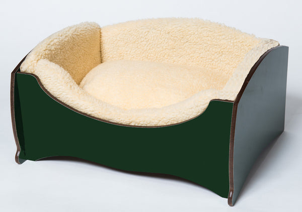 Handmade Luxury Pet Bed for Small Dogs or Cats (plain green)
