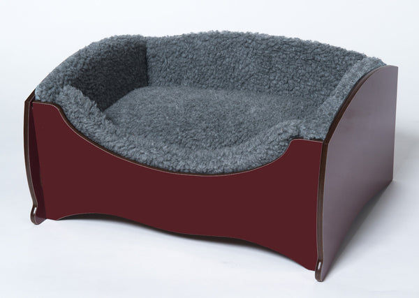 Handmade Luxury Pet Bed for Small Dogs or Cats (plain maroon)