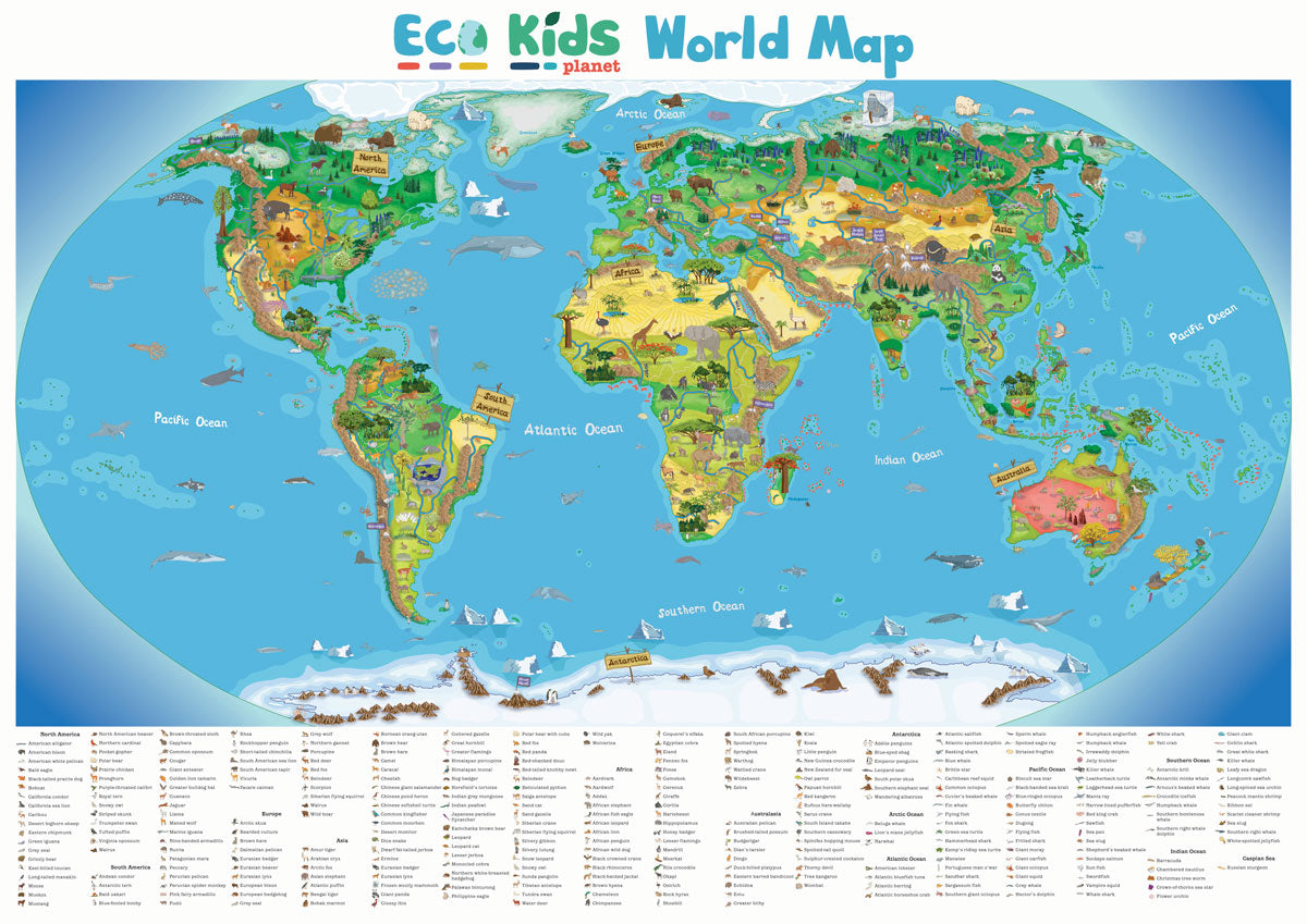 Eco kids planet mini gift subscription plus childrens world map this bright beautifully illustrated world map will take children on a journey of discovery around the world shows continent names main islands biomes gumiabroncs Choice Image