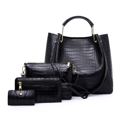 Set genti negre imitatie crocodil Selena 4 in 1