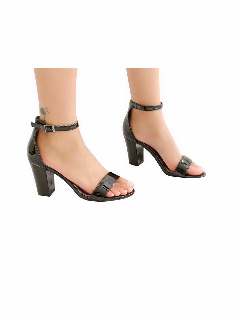 Faux Leather Block Heel