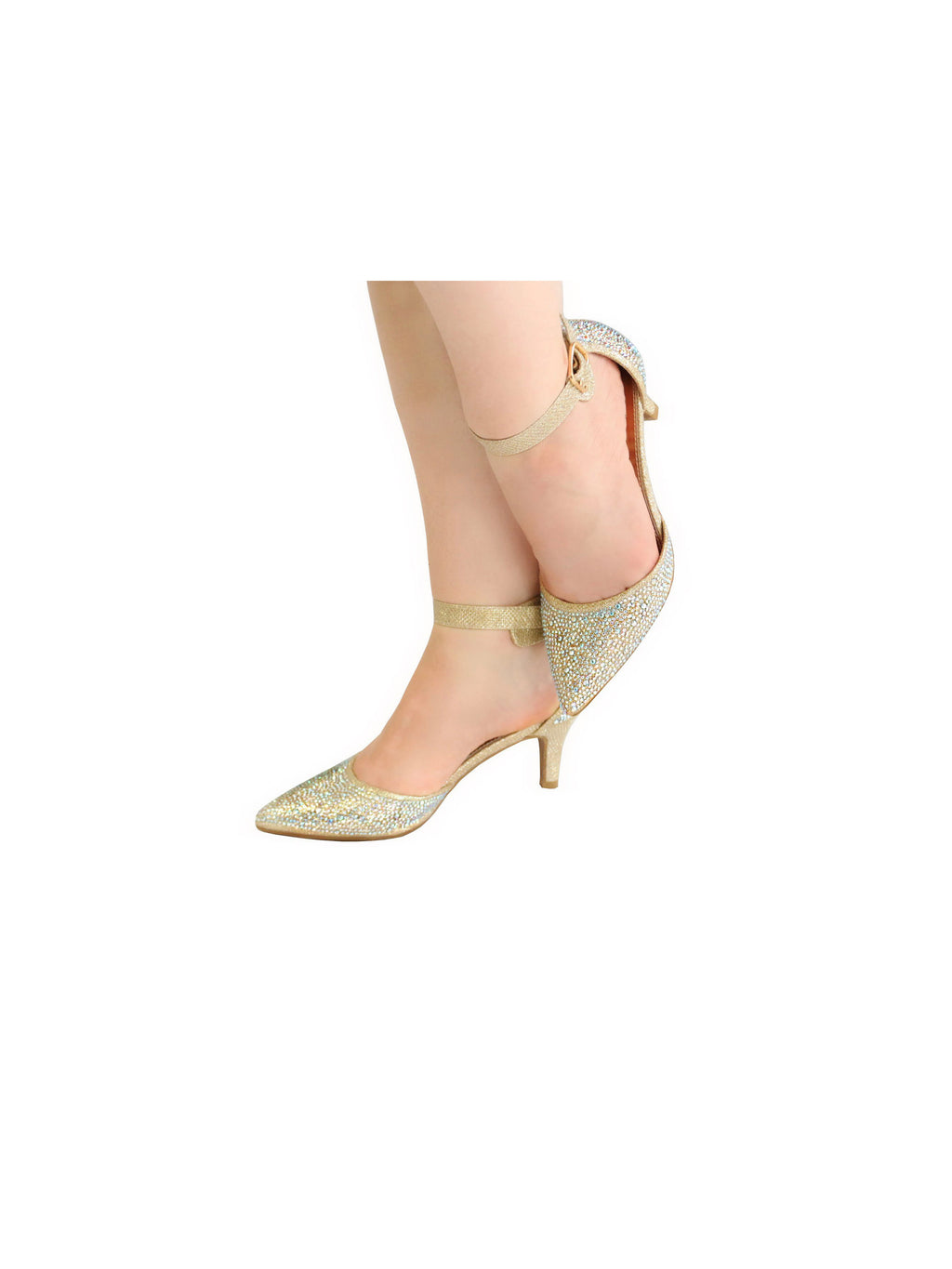 Sparkly Ankle Strap Pointed Pu