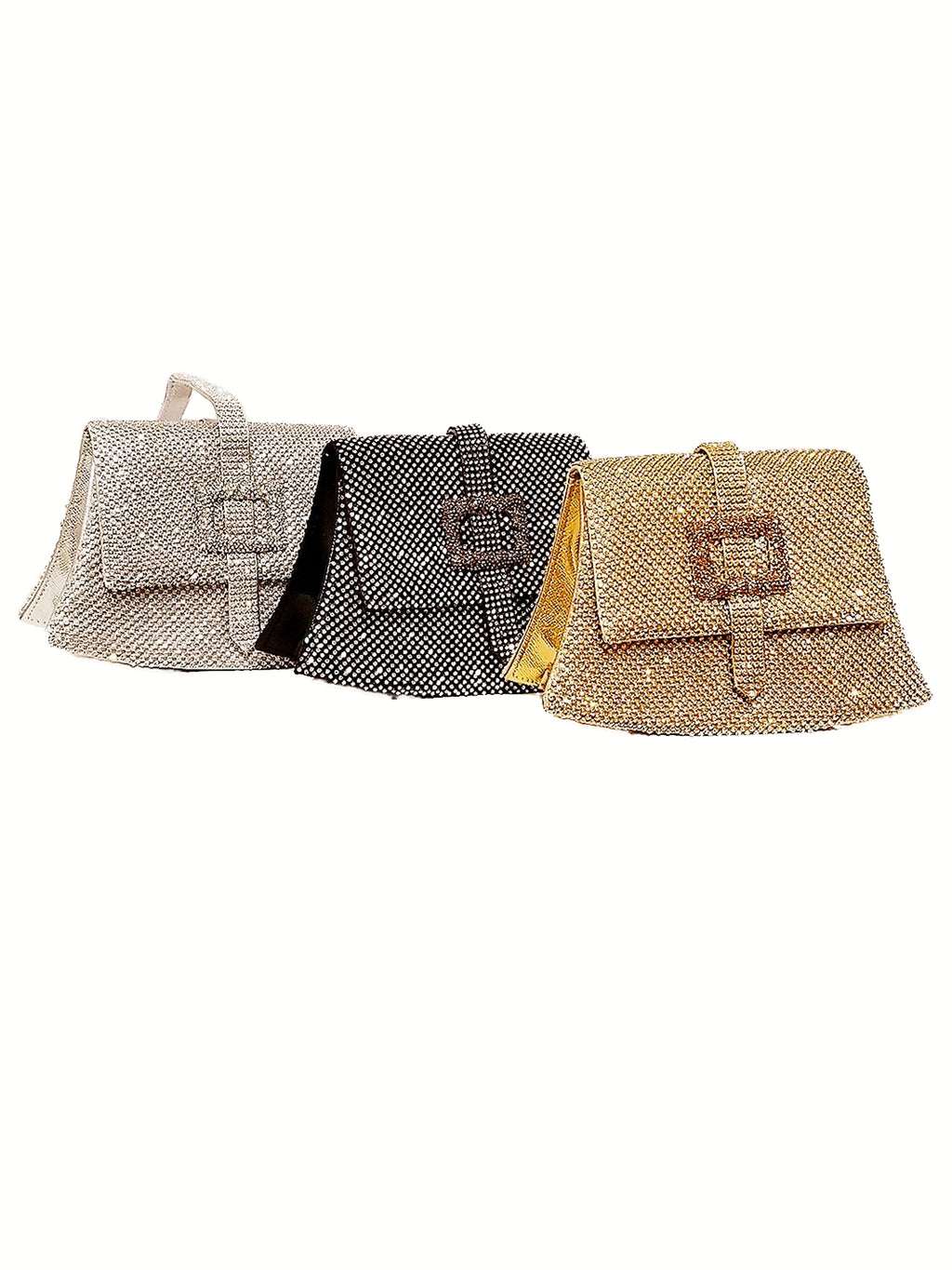 Rhinestone Clutch W/ Buckle