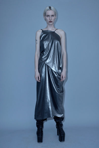 METALLIC DRAPED DRESS