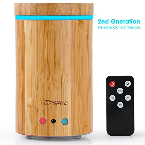 Essential Oil Diffuser with Remote Control, MOSPRO Real Bamboo Aromatherapy Diffuser Water-less Auto Shut-Off for Home Office Spa