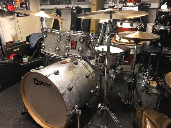 Premier Genista Birch Modern Rock SSX Drum Kit, Silver Sparkle