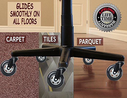 Superior 5; Office Chair Wheels Replacement Rubber Chair Casters For Hardwood Floors  And Carpet LIFELONG Warranty.
