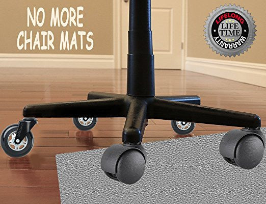 Nice 5; Office Chair Wheels Replacement Rubber Chair Casters For Hardwood Floors  And Carpet LIFELONG Warranty. 5