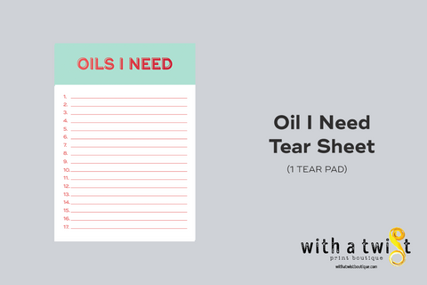 Oils I Need Shopping List Tear Pad