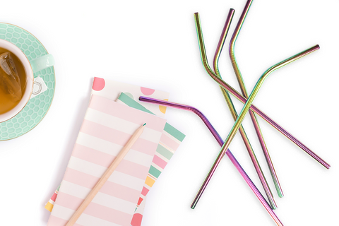 Rainbow Reusable Metal Straws
