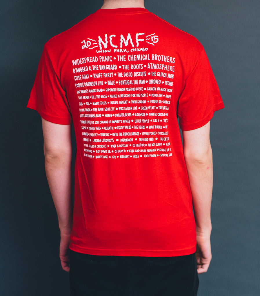 NCMF 2015 Lineup Shirt, Dirty Letters, Red