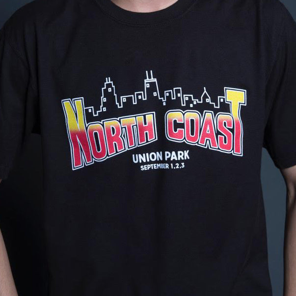 NCMF 2017 Chicago Skyline Band Listing Tee - Black