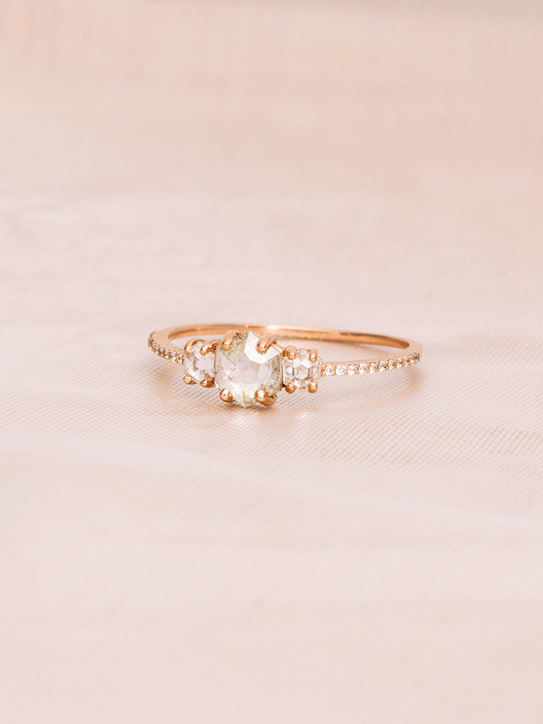 The Triple Rose Cut Ring with Pavè Band