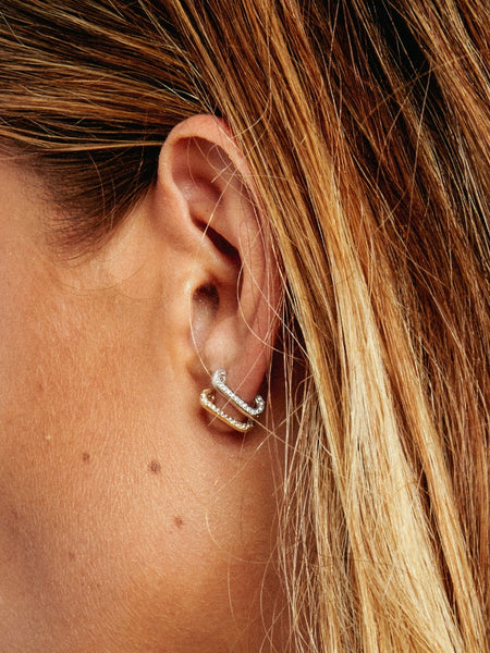 The Pavè Safety Pin Earrings