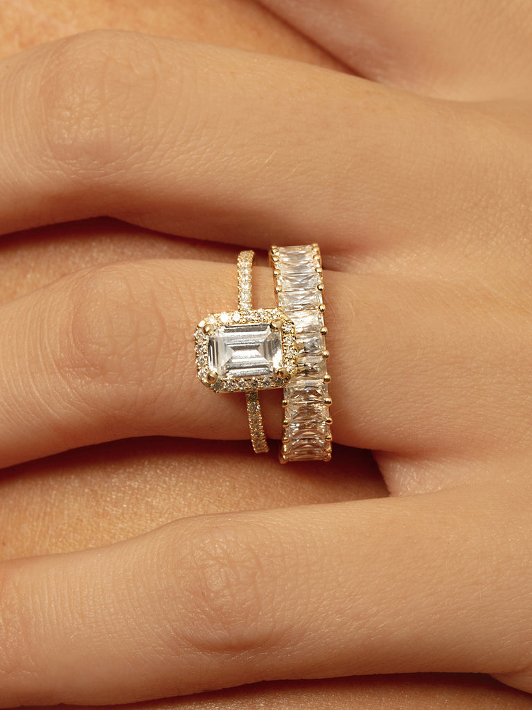The Ballier Ring- Emerald-Cut 2x4 mm