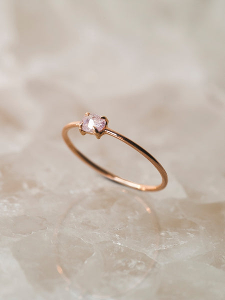 The Single Stone Ring- Pink Diamond Oval