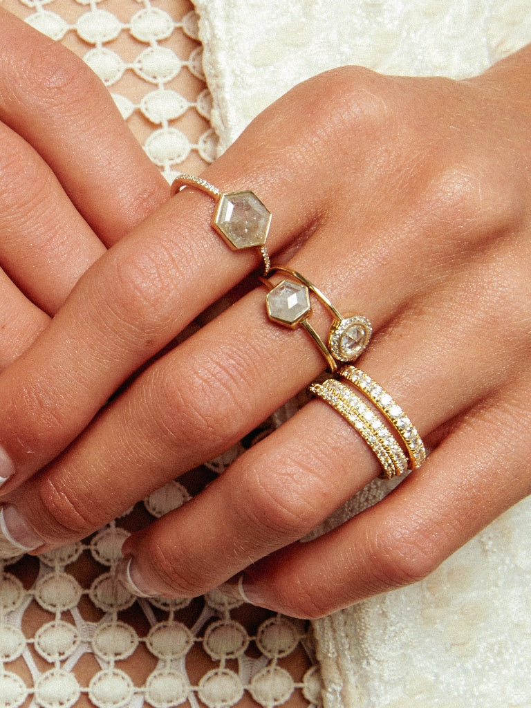 The Diamond Slice Ring with Pavè Band