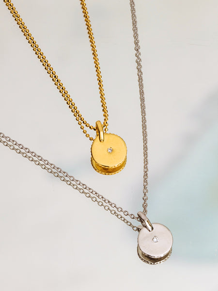 The Diamond Stud Disc Necklace