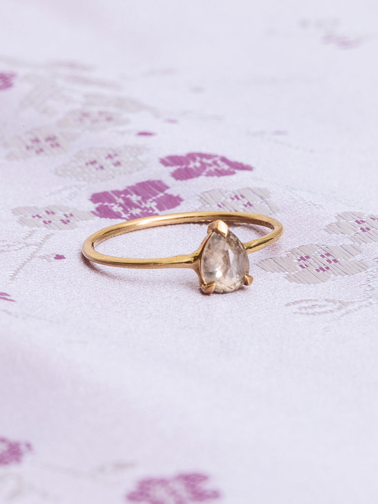 The Single Stone Ring- Salt + Pepper Pear