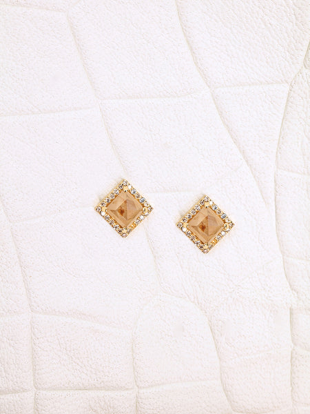 The Diamond Slice Studs- Medium