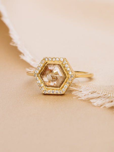 The Diamond Slice Ring with Halo + Plain Band [SAMPLE SALE]