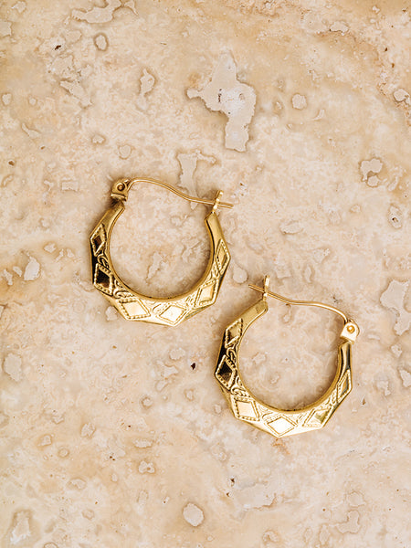 The Etched U Hoops