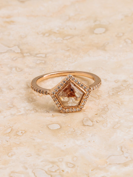 The Diamond Slice Ring with Halo + Pavè Band [SAMPLE SALE]