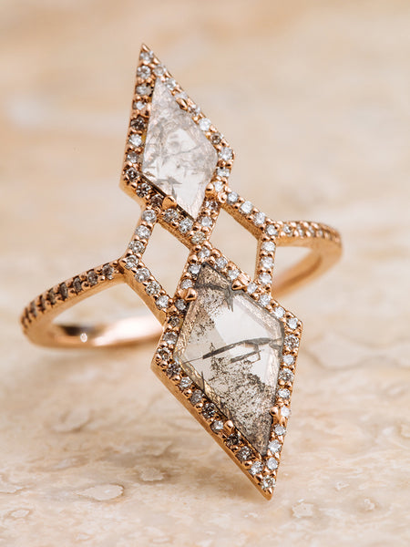The Double Diamond Slice Shield Ring