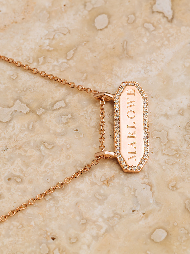 The Pavè Geo Bar Necklace